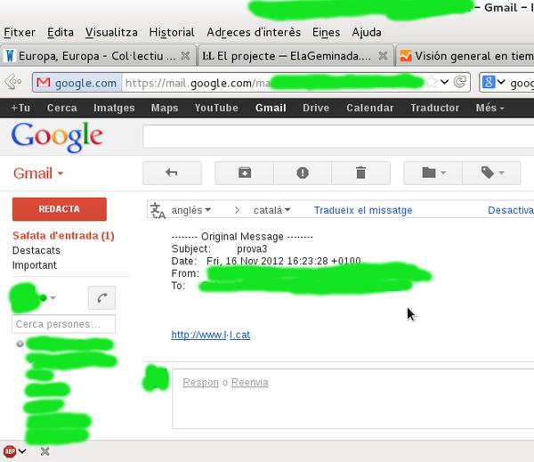 Exemple del problema d'anàlisi d'enllaços en el client web de GMail