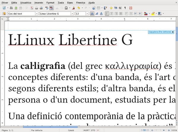 Exemple de Linux Libertine G sobre LibreOffice