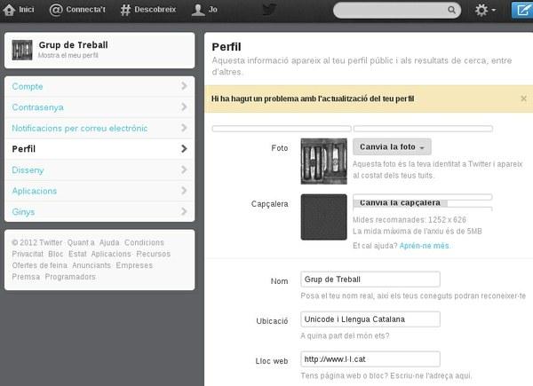 error al desar un perfil de Twitter amb una URL de referència amb l·l
