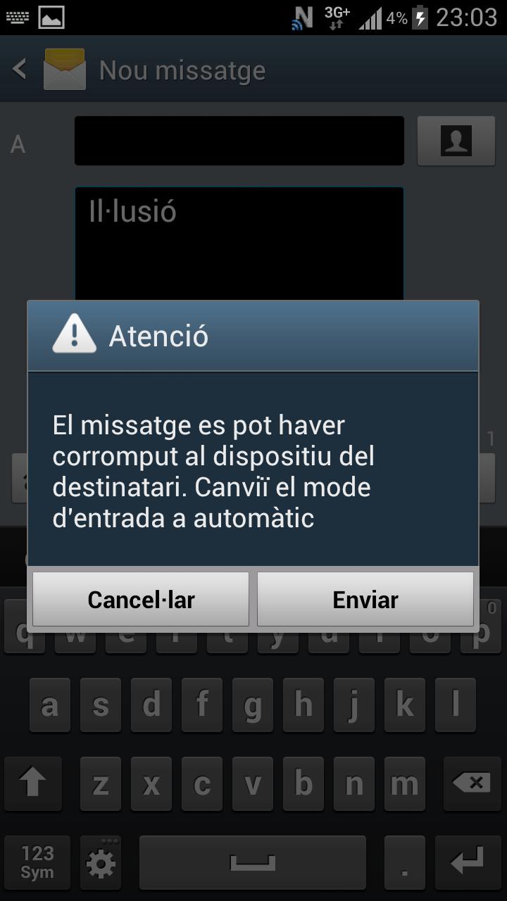 Error a l'enviar SMS amb ela geminada